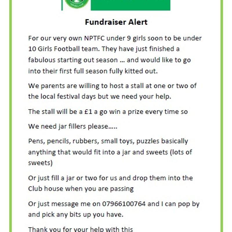 Fundraiser Alert !!!! NPTFC Under 9s Girls need your help!