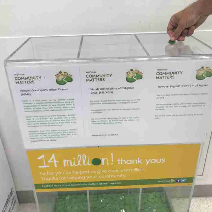 Our NPTFC Under 9 Jaguars have a green token bin in Waitrose, Oakgrove!