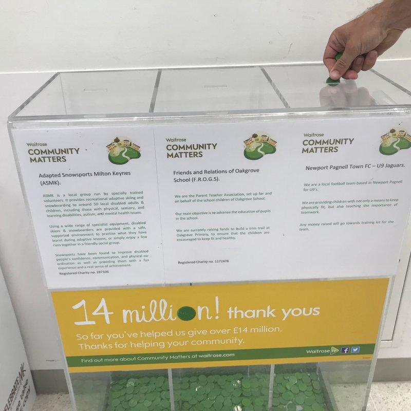 Our NPTFC Under 9 Jaguars have a green token bin in Waitrose, Oakgrove!