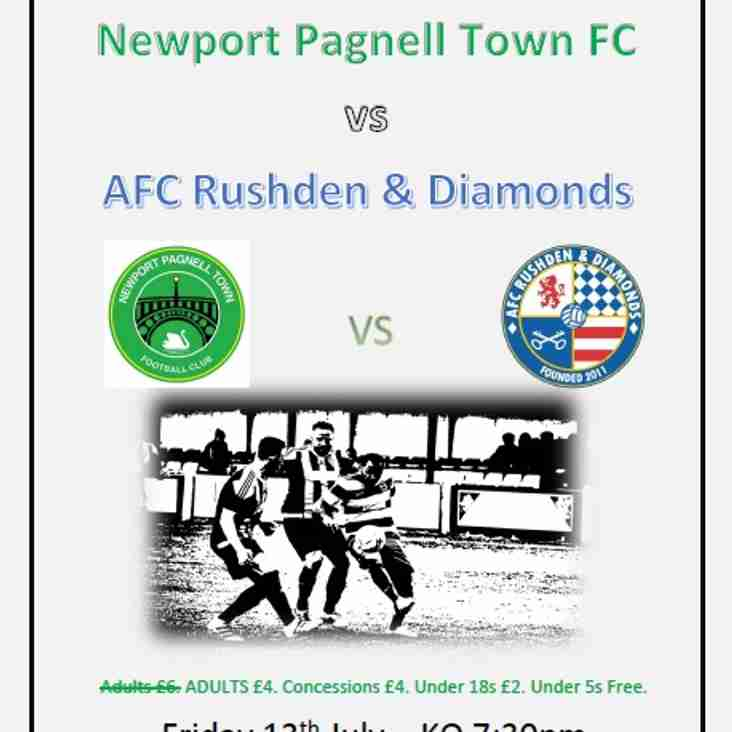 Swans vs AFC Rushden & Diamonds - Friday 13th July. KO 7.30pm