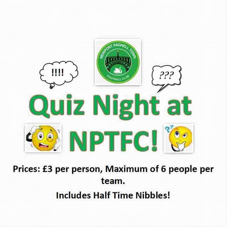 Quiz Night at NPTFC - Friday 16th November at 8PM