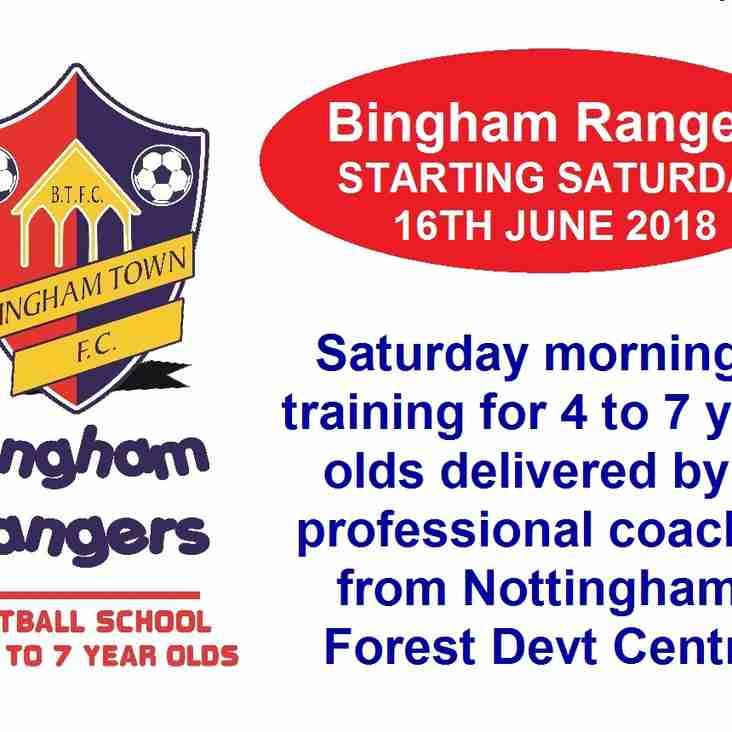 Bingham Rangers - STARTS SATURDAY 16TH JUNE 10AM-11AM