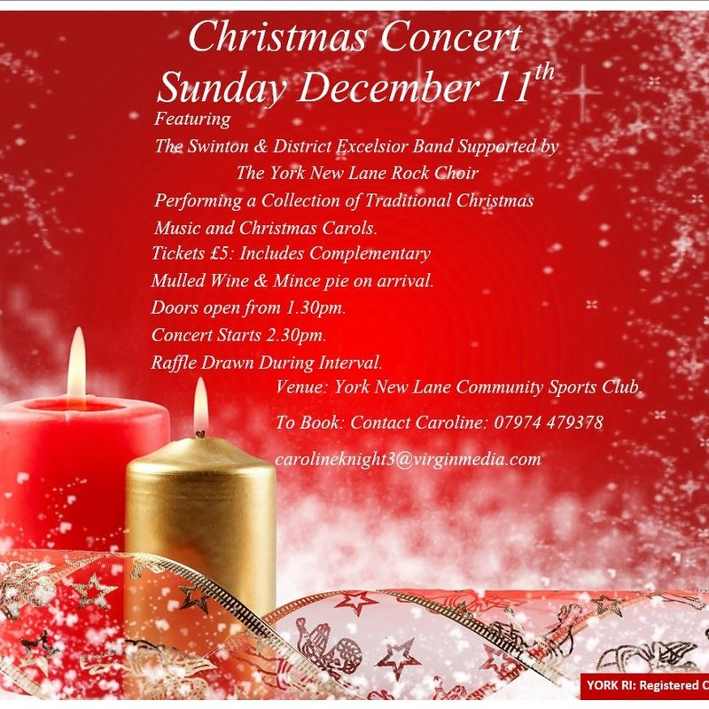 CHRISTMAS CONCERT AT NEW LANE - SUNDAY 11TH DECEMBER