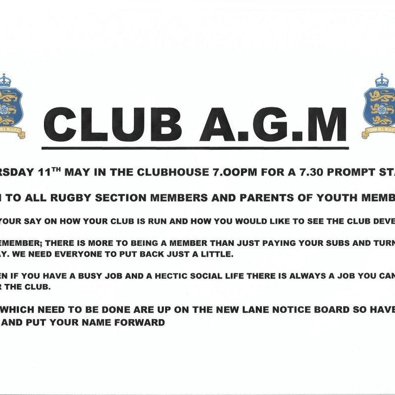 CLUB AGM -  11TH MAY IN THE CLUBHOUSE 7.OOPM FOR A 7.30 PROMPT START