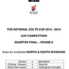 Colts in last 8 of National Cup on Sunday 13th March