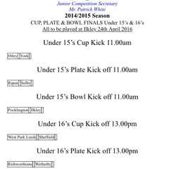 U16s reach Yorkshire Cup Final
