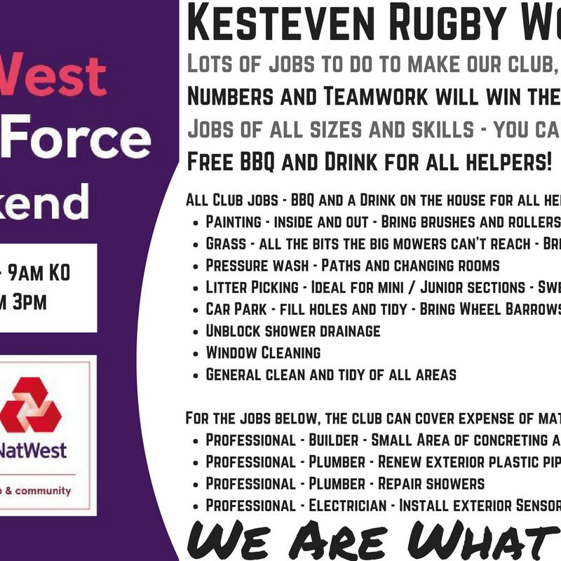 Kesteven RFC - Natwest RugbyForce Work Day 2018