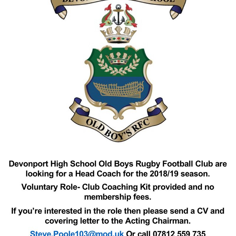 DHSOB RFC Head Coach Vacancy
