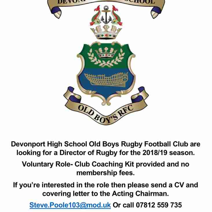 DHSOB RFC Director of Rugby Vacancy
