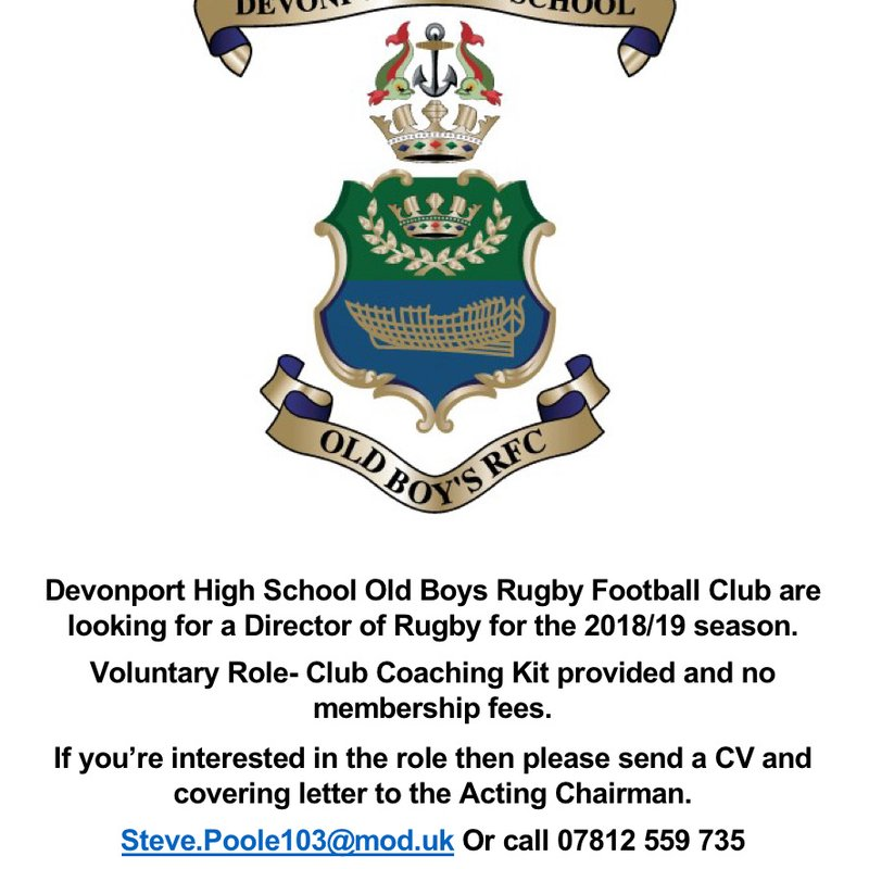 DHSOB RFC Director of Rugby Vacancy