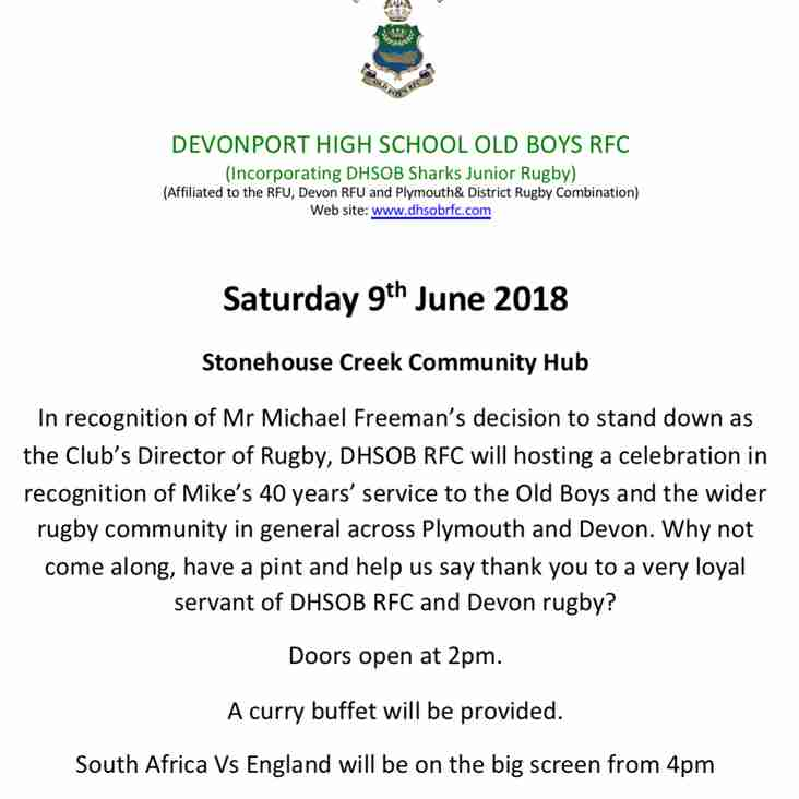 A Celebration of 40 years dedicated service to rugby