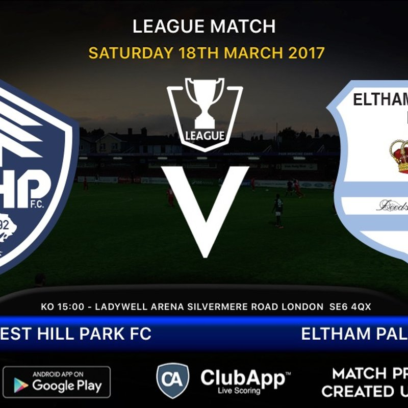 Forest Hill host Eltham Palace tomorrow in the league