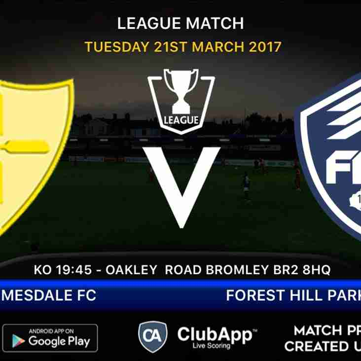 Forest Hill visit Holmesdale tomorrow evening ....