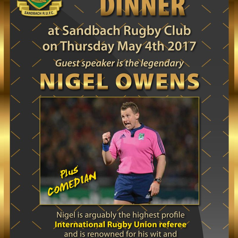 Nigel Owens is coming to Sandbach RUFC
