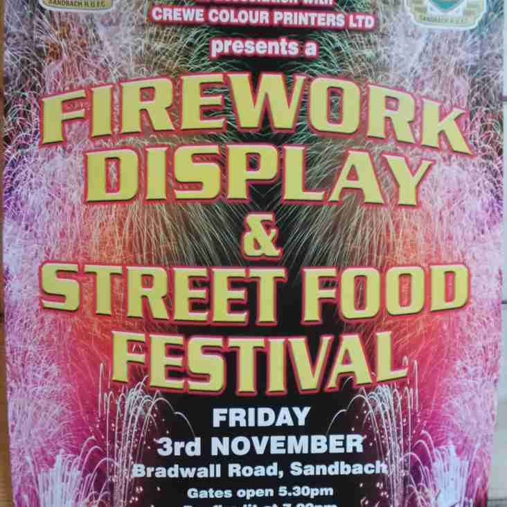 Bonfire, fireworks night and street food festival is Friday 3rd November
