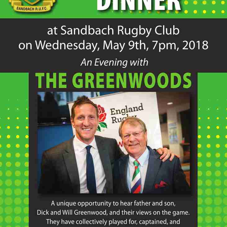 Unique Sportsmen's Dinner Wednesday May 9th from 7pm, Dick and Will Greenwood