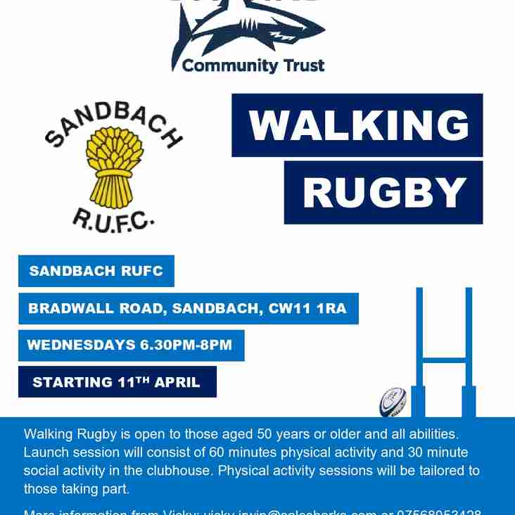 Walking Rugby for over 50's starting 11th April 630pm at the club, ladies very welcome