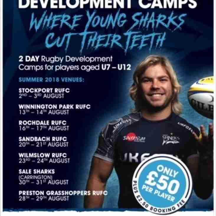 Sale Sharks summer camp at Sandbach 20th/21st August