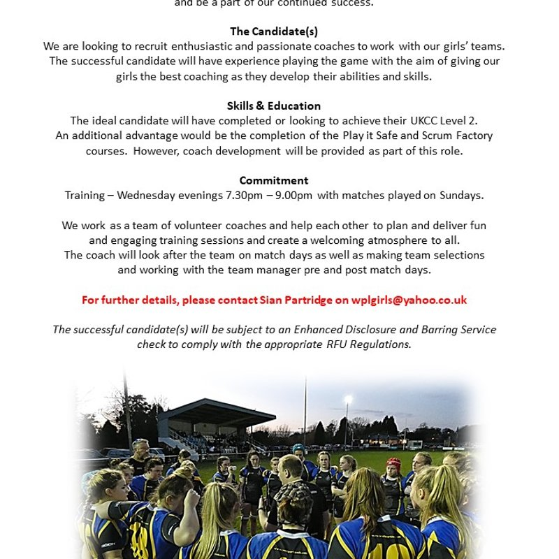 COACHES REQUIRED FOR GIRLS RUGBY AT WEST PARK LEEDS RUFC