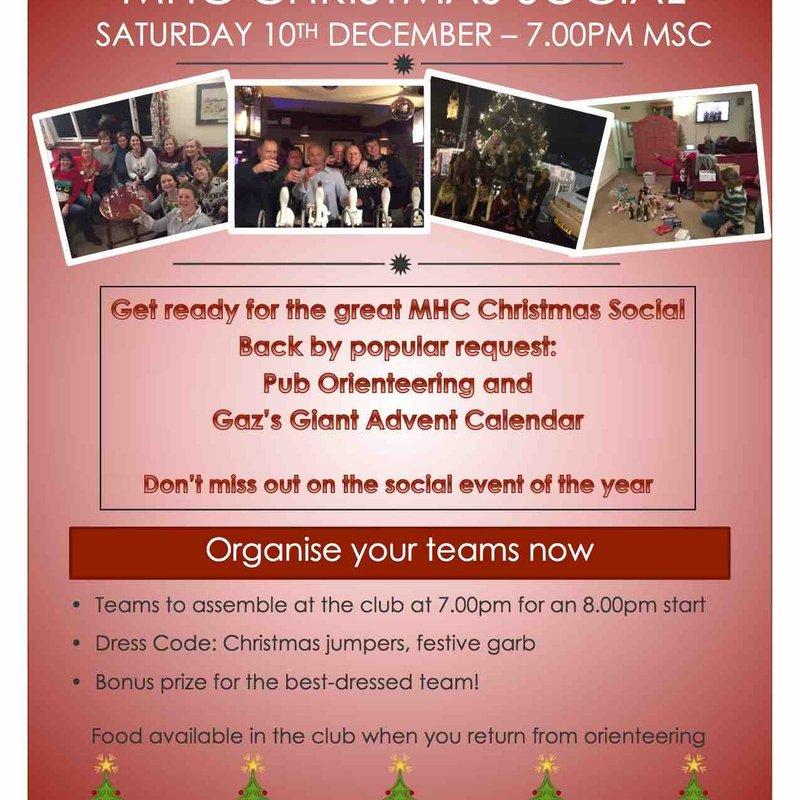 MHC Christmas Social - Sat 10th Dec - 7pm at MSC