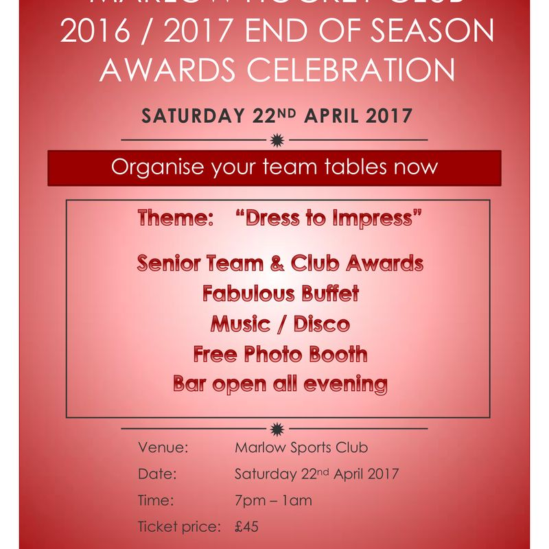 Marlow Hockey Club EOS - Saturday 22nd April - 7pm - 1am
