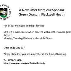 A new Offer from our sponsor Green Dragon
