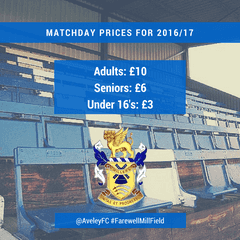 Matchday Tickets Prices for 2016/17