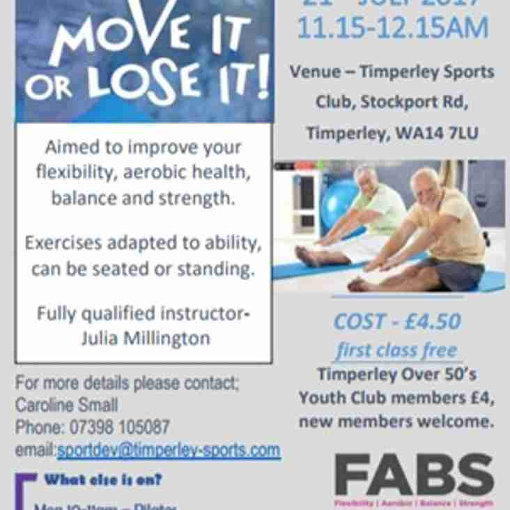 Latest TSC daytime exercise class for  Over 50/60's