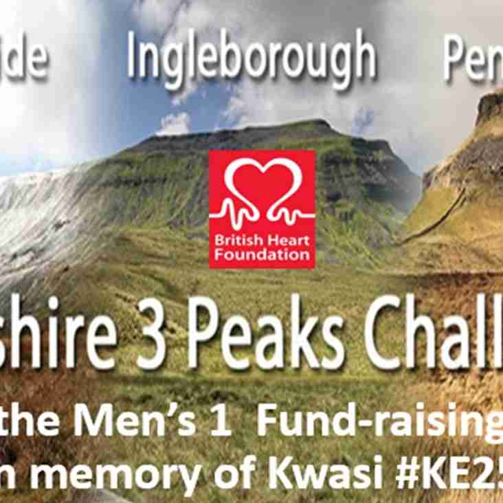 Men's 1 ready for the 3 Yorkshire Peaks fund-raising challenge in memory of Kwasi - 6th July - donate and help raise funds for BHF