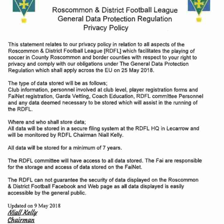 Roscommon & District Football League General Data Protection Regulation Privacy Policy