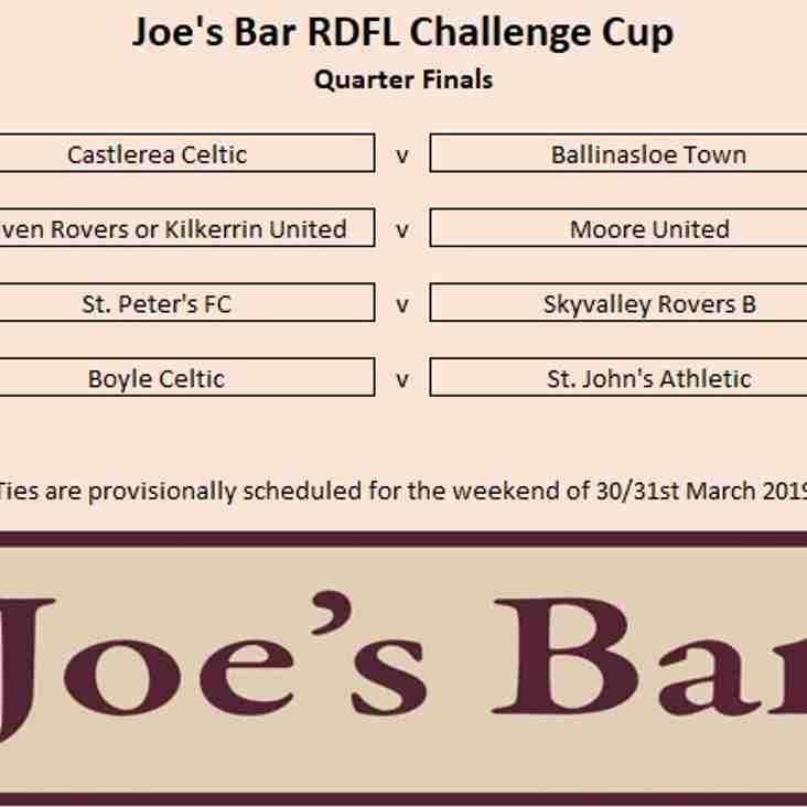 Joe's Bar RDFL Challenge Cup Quarter Final Draw