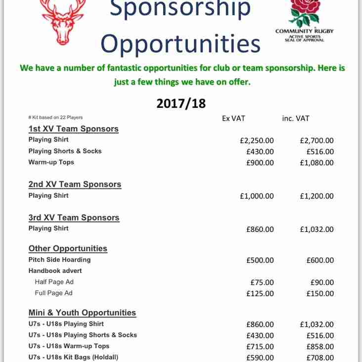 Sponsorship Opportunities 2017/2018