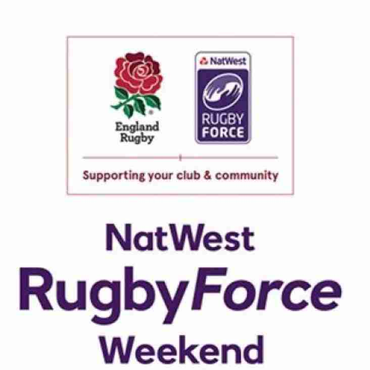 NatWest RugbyForce Volunteers needed Saturday 24 June