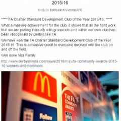 FA Charter Standard Development Club of the Year 2015/16