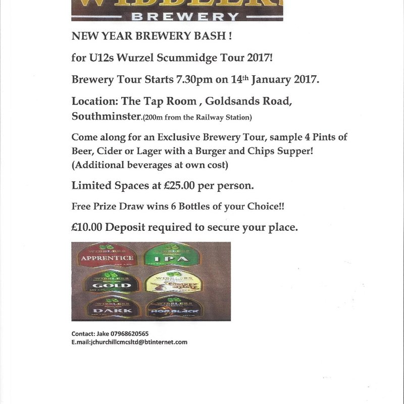 Brewery Tour organised by the Under 12s - 14 January 2017