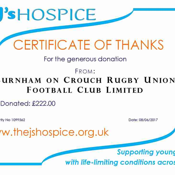 Club receive wonderful thank you letter from J's Hospice for monies raised!