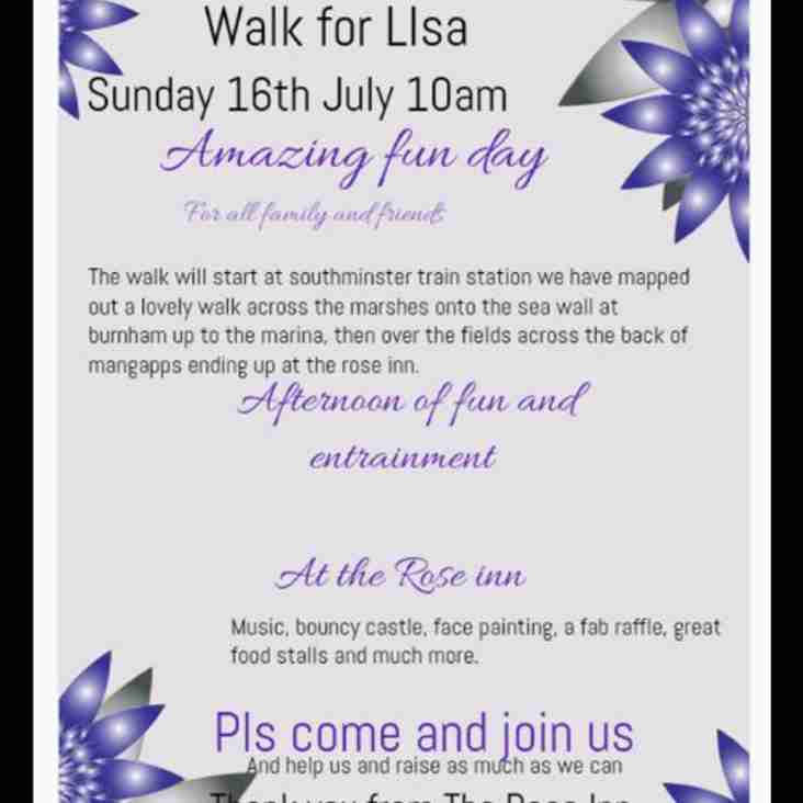 SPONSORED WALK - FOR LISA AYDON - Sunday 16 July 10am