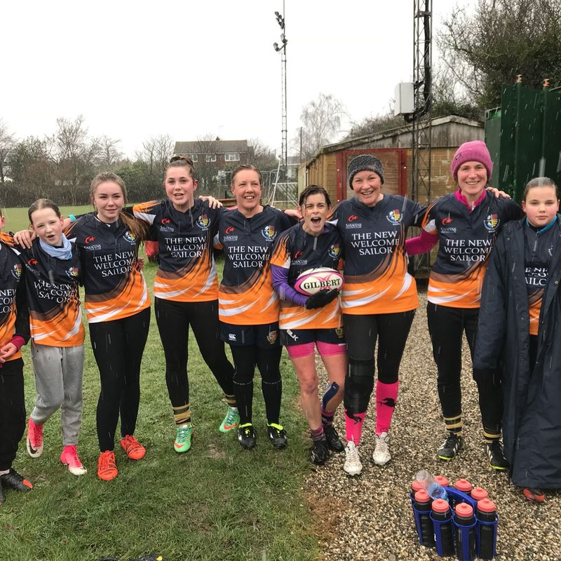 Snow did not deter the ladies and the under 15s! Great fun match with some wicked rugby.
