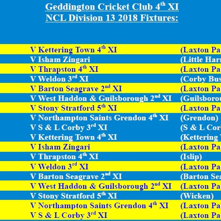 Geddington Cricket Club 4th XI 2018 NCL Fixtures Released<