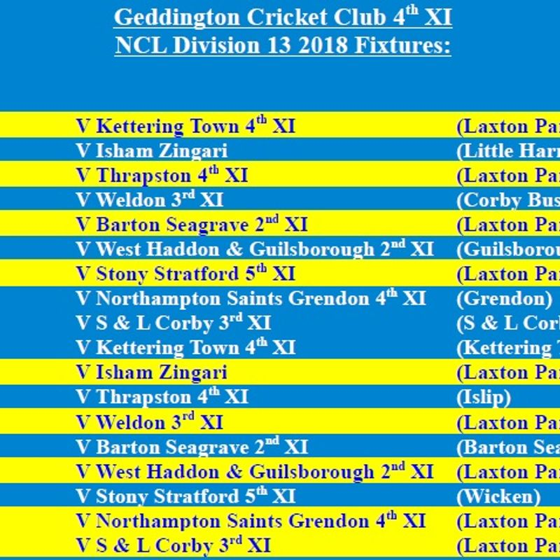 Geddington Cricket Club 4th XI 2018 NCL Fixtures Released