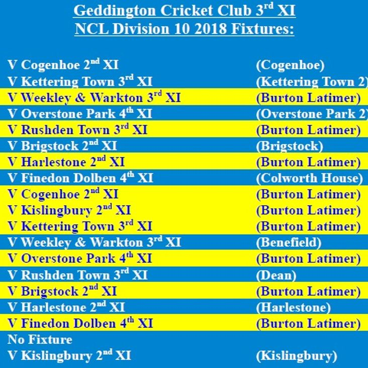 Geddington Cricket Club 3rd XI 2018 NCL Fixtures Released<