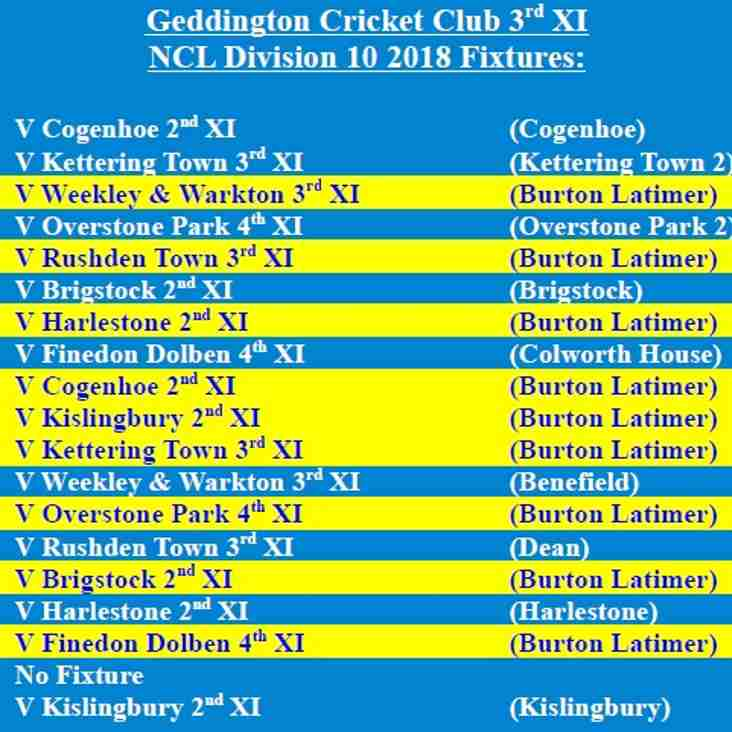 Geddington Cricket Club 3rd XI 2018 NCL Fixtures Released