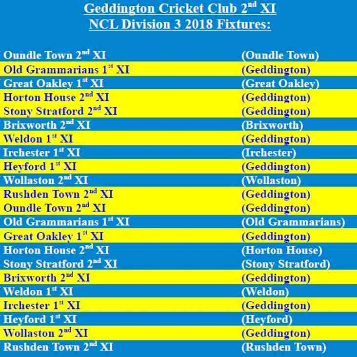 Geddington Cricket Club 2nd XI 2018 NCL Fixtures Released