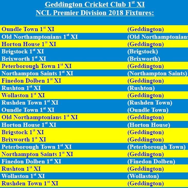 Geddington Cricket Club 1st XI 2018 NCL Fixtures Released<