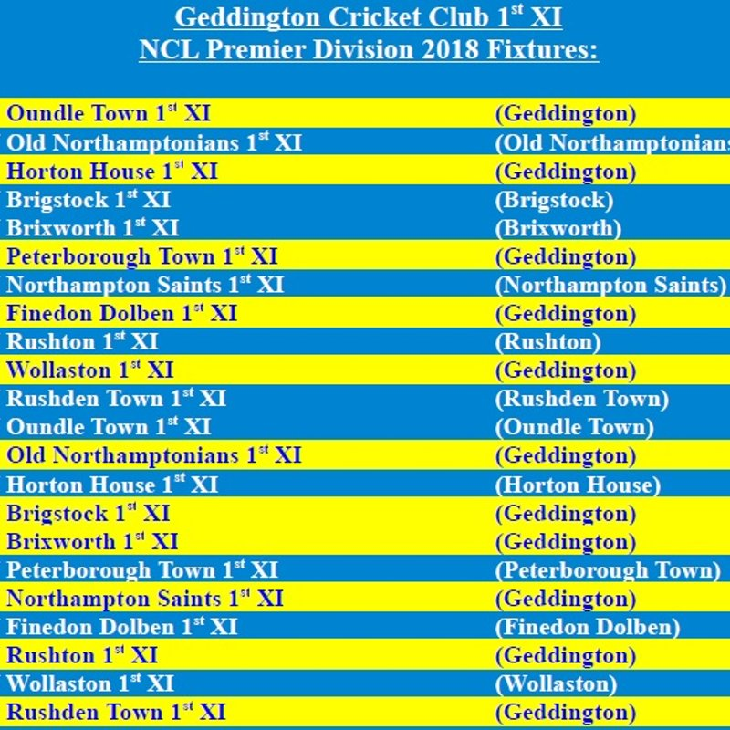 Geddington Cricket Club 1st XI 2018 NCL Fixtures Released