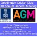 Geddington Cricket Club 2018 Annual General Meeting
