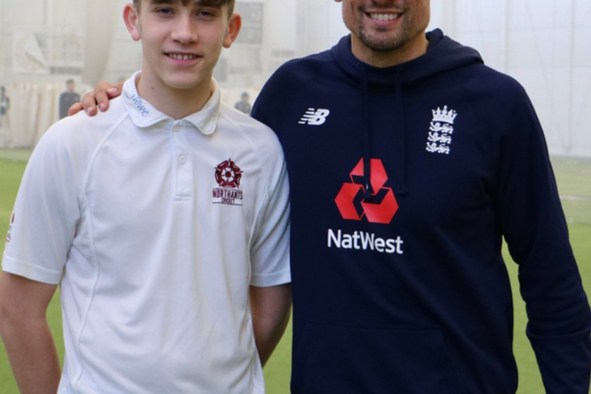 Northamptonshire Youngsters Spend A Day With England Cricketer Alistair Cook.