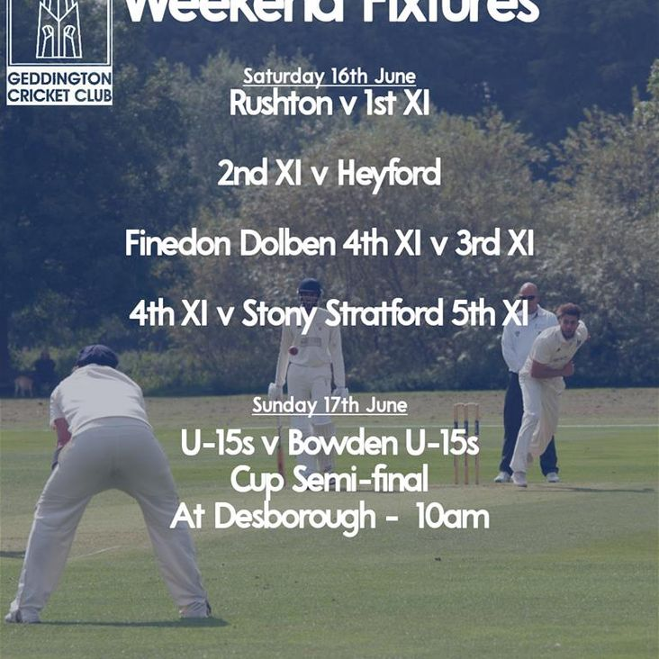 Geddington Cricket Club Fixtures 16th-17th June 2018<