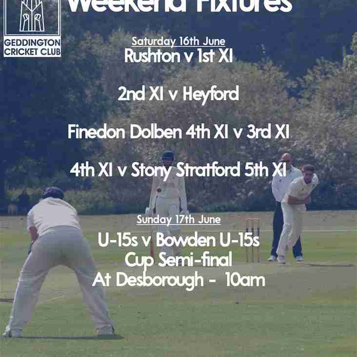Geddington Cricket Club Fixtures 16th-17th June 2018
