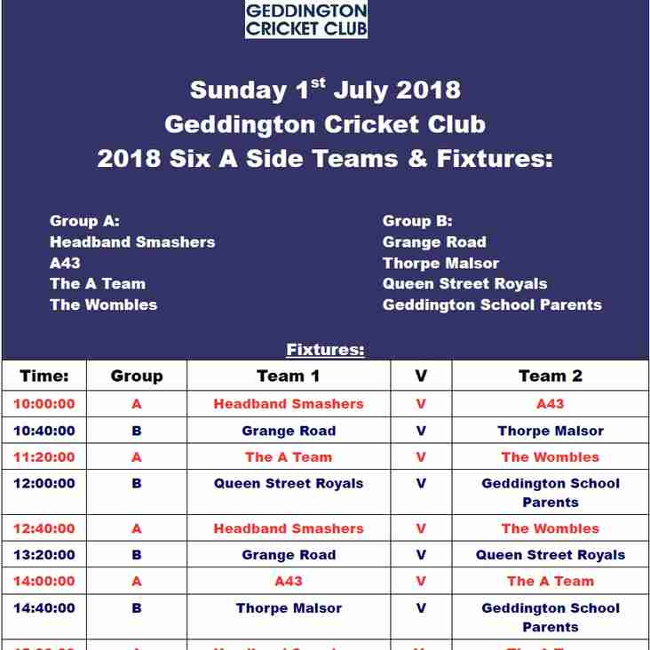 Geddington Cricket Club 2018 Six A Side Day Competition Information: